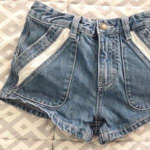 Free People Jean Lace Eyelet Shorts